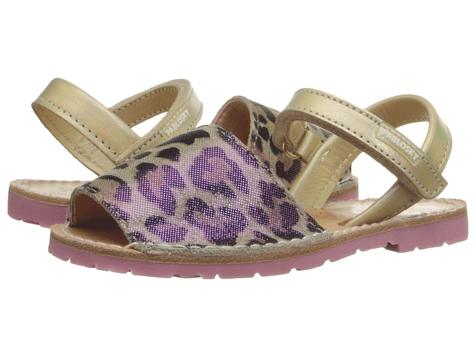 Pablosky Kids - 1091 (Toddler/Little Kid) (Gold/Leopard) Girl's Shoes