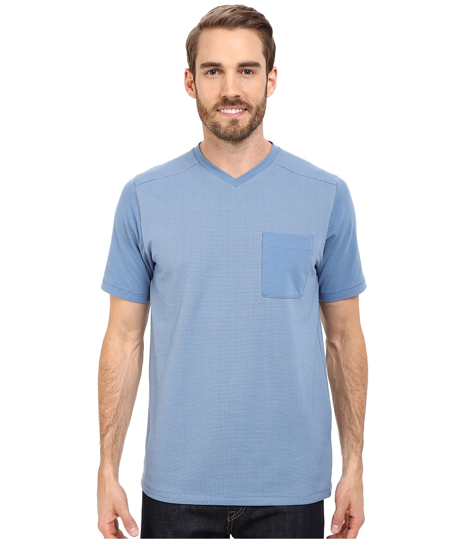 The North Face - Short Sleeve Alpine Start V-Neck Tee (Moonlight Blue) Men's T Shirt