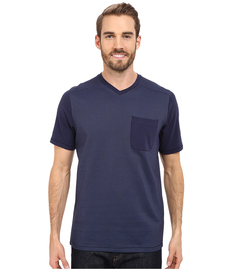 The North Face - Short Sleeve Alpine Start V-Neck Tee (Cosmic Blue) Men's T Shirt
