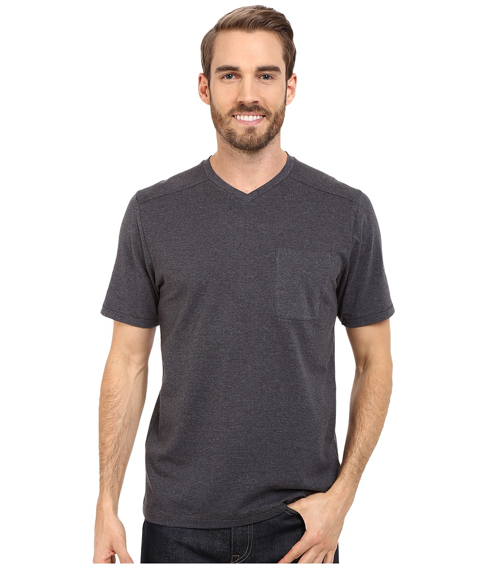 The North Face Short Sleeve Alpine Start V-Neck Tee (TNF Dark Grey Heather) Men