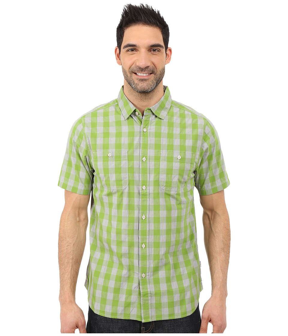 The North Face - Short Sleeve Marled Gingham Shirt (Vibrant Green Plaid) Men's Short Sleeve Button Up