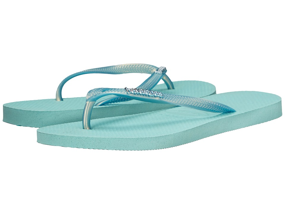 Havaianas - Slim Logo Metallic Flip Flops (Ice Blue) Women's Sandals