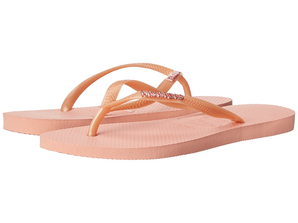 Havaianas - Slim Logo Metallic Flip Flops (Light Pink) Women's Sandals