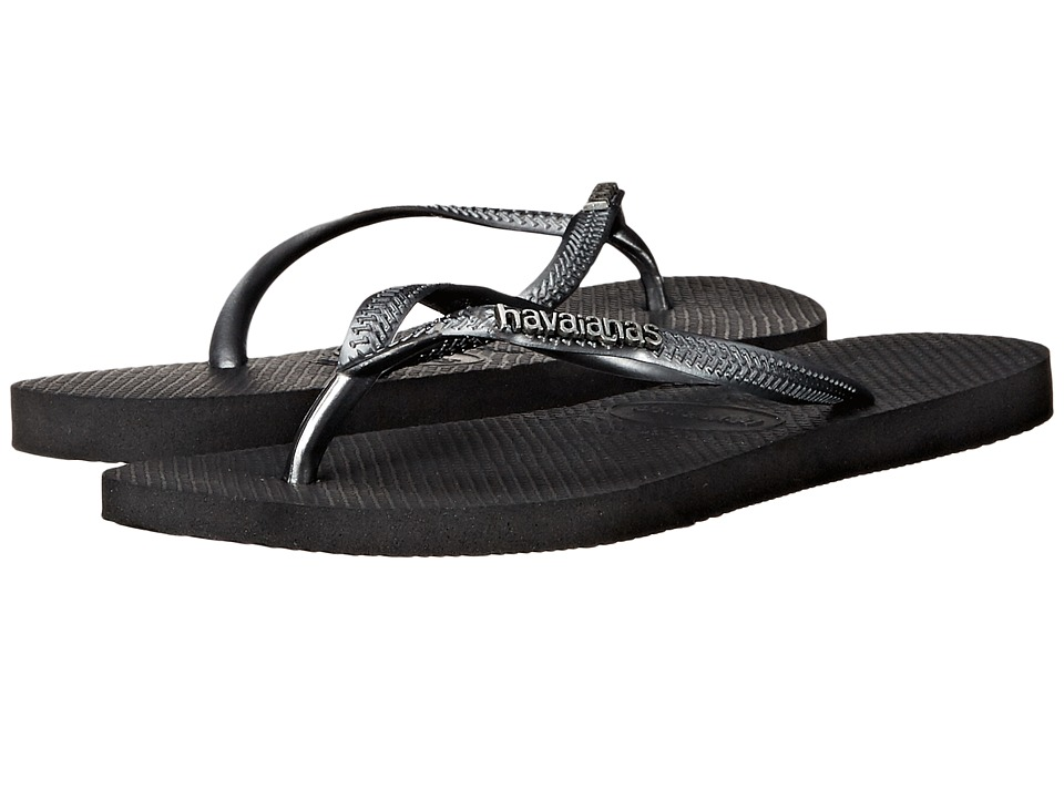 Havaianas - Slim Logo Metallic Flip Flops (Black/Graphite) Women's Sandals