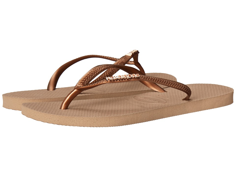 Havaianas - Slim Logo Metallic Flip Flops (Rose Gold/Dark Copper) Women's Sandals