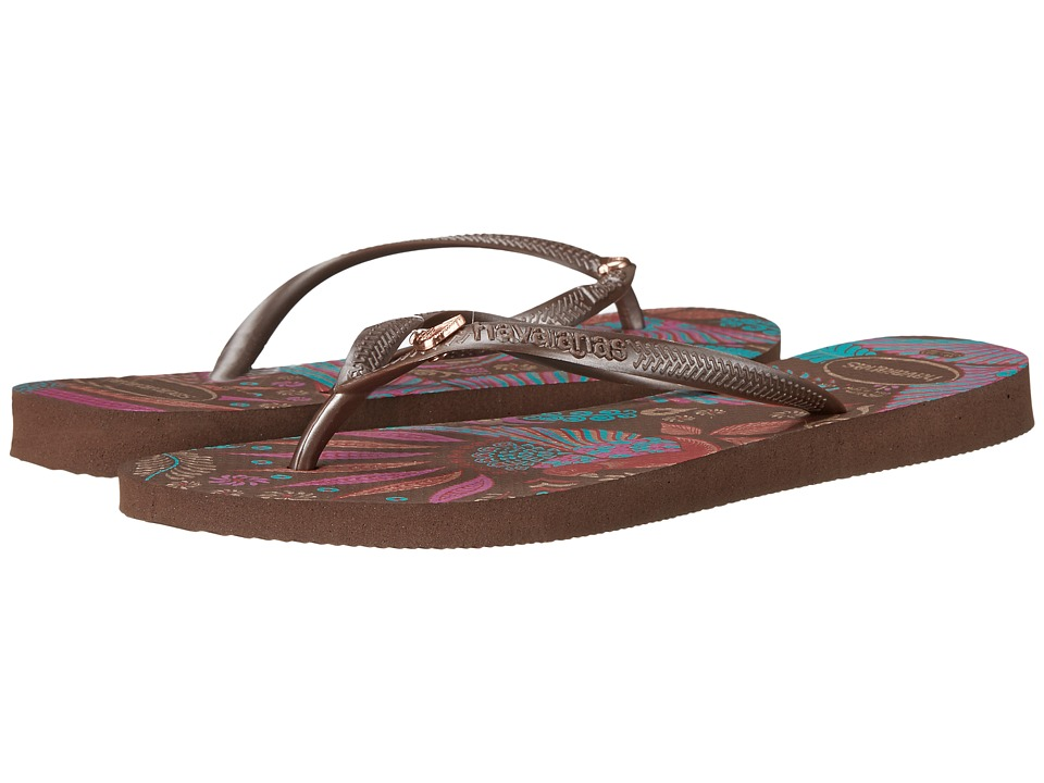 Havaianas - Slim Royal Flip Flops (Dark Brown) Women's Sandals