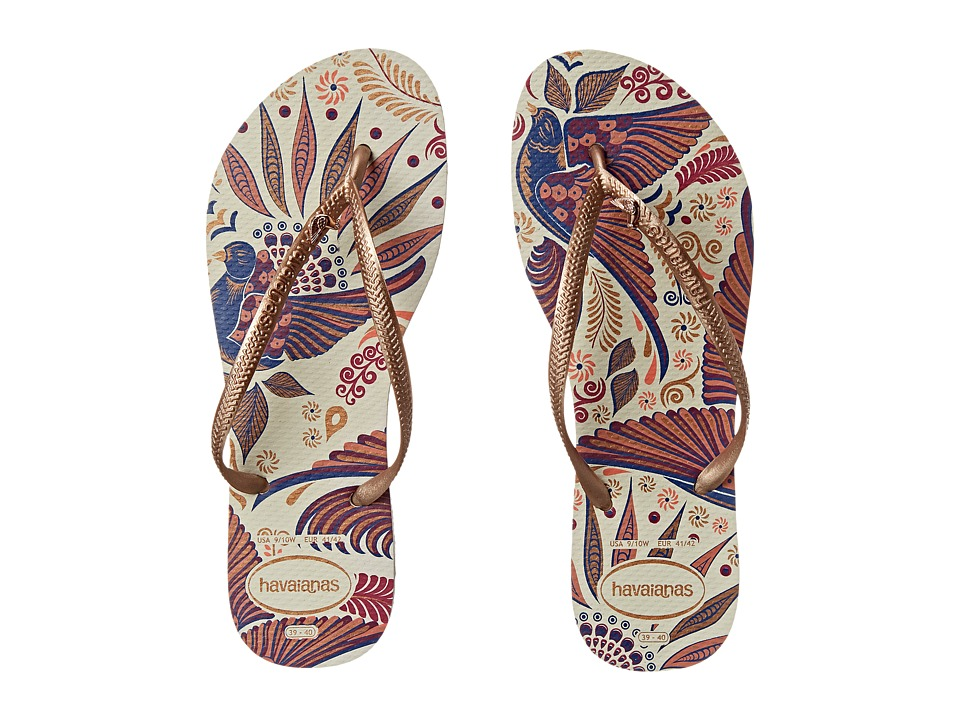 Havaianas - Slim Royal Flip Flops (White/Rose Gold) Women's Sandals
