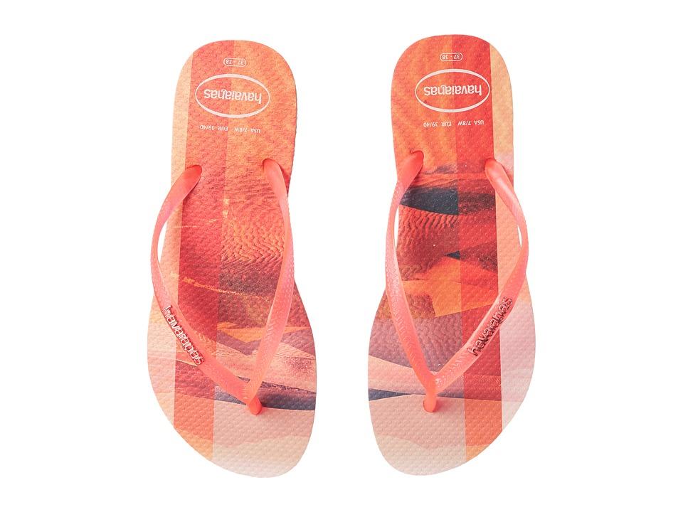 Havaianas Slim Paisage Flip Flops (Peach) Women