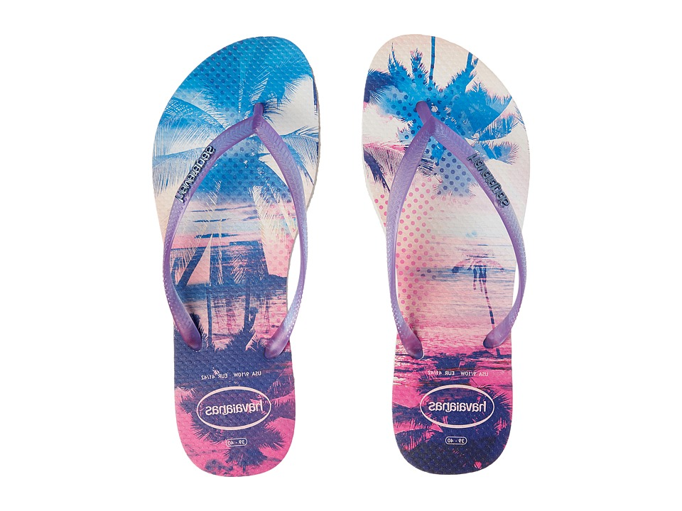 Havaianas - Slim Paisage Flip Flops (White/Purple) Women's Sandals