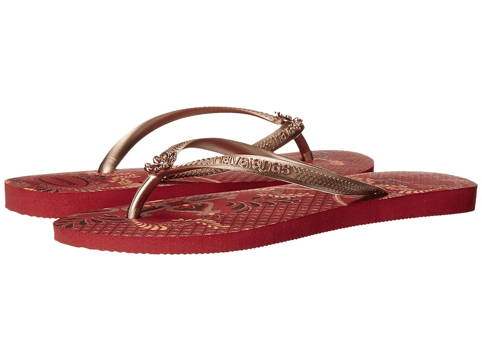 Havaianas - Slim Thematic Flip Flops (Ruby Red) Women's Sandals