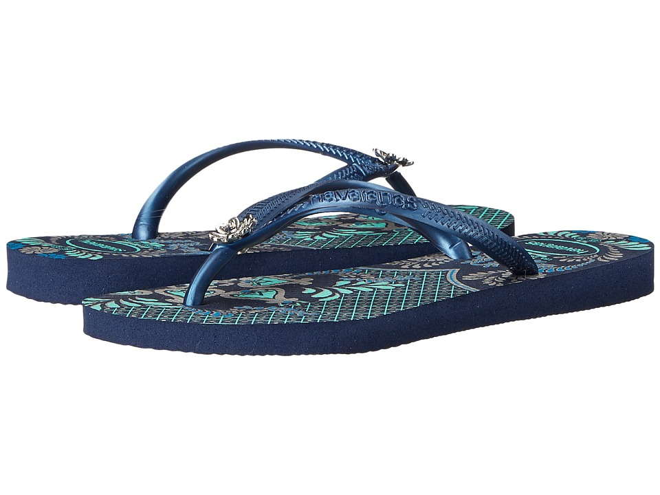 Havaianas - Slim Thematic Flip Flops (Navy Blue/Navy Blue) Women's Sandals