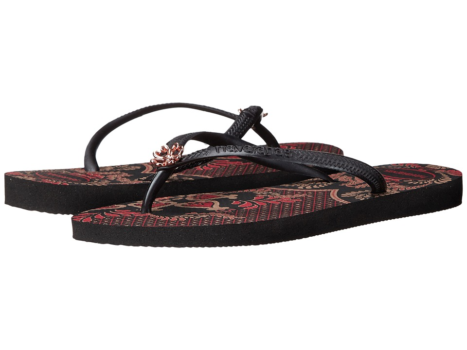 Havaianas - Slim Thematic Flip Flops (Black/Dark Grey) Women's Sandals