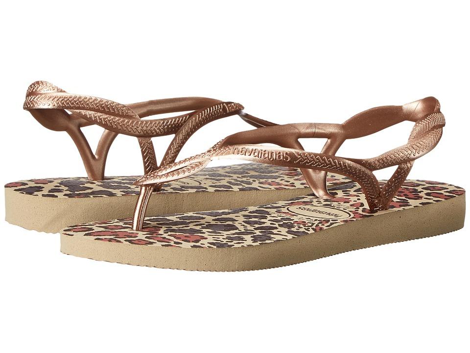 Havaianas - Luna Animals Flip Flops (Sand Grey/Rose Gold) Women