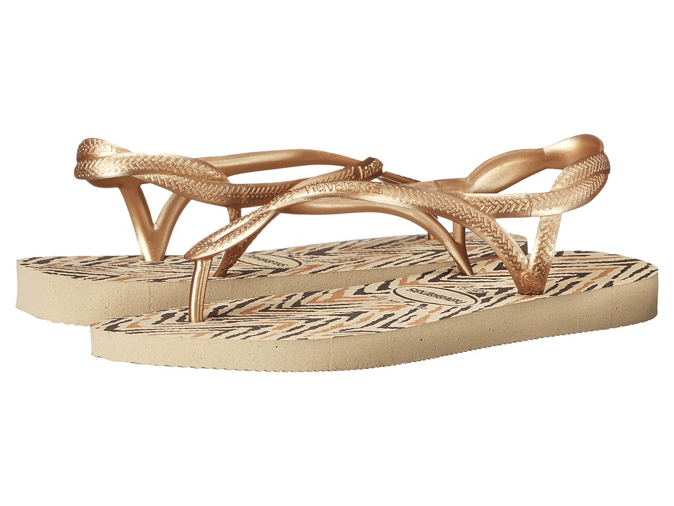 Havaianas - Luna Animals Flip Flops (Sand Grey/New Gold) Women's Sandals