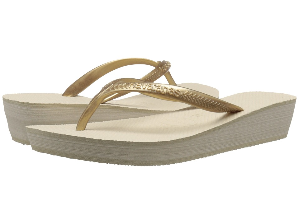 Havaianas High Light Flip Flops (Beige) Women
