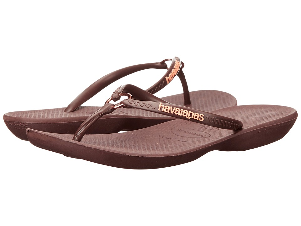 Havaianas Ring Flip Flops (Dark Brown/Dark Brown) Women