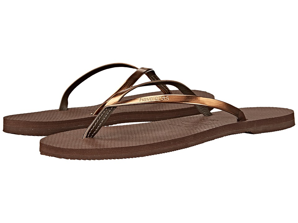 Havaianas - You Metallic Flip Flops (Dark Brown) Women's Sandals