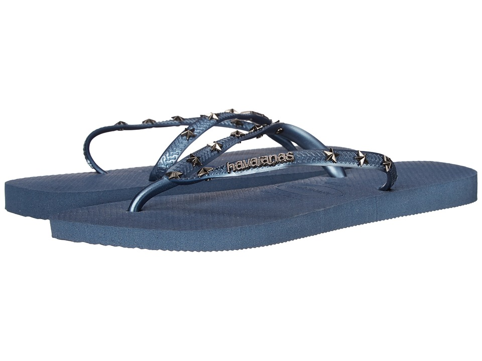 Havaianas Slim Hardware Flip Flops (Indigo Blue) Women