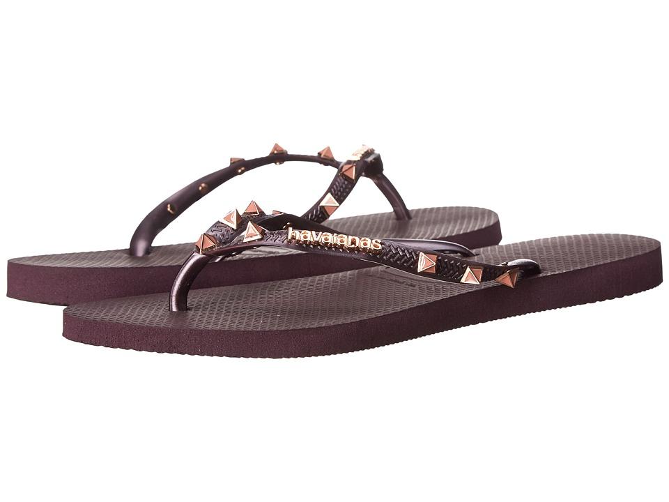 Havaianas Slim Hardware Flip Flops (Aubergine/Aubergine) Women