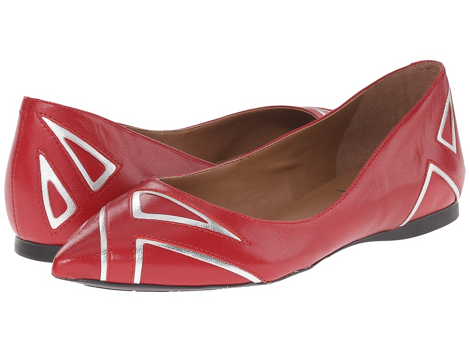 French Sole - Quiver (Red/Silver Leather) Women's Flat Shoes
