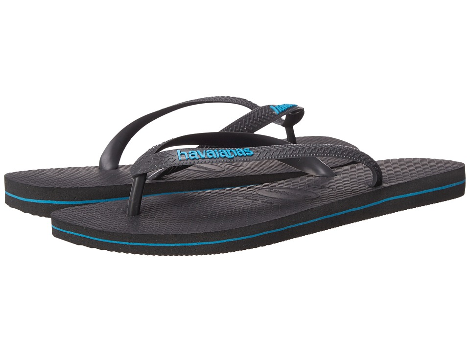 Havaianas Logo Filete Flip Flops (Grey/Turquoise) Men