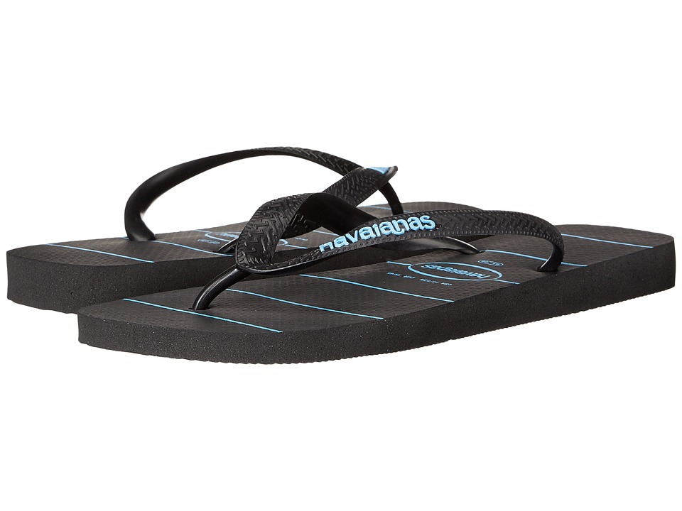 Havaianas Top Stripes Logo Sandal (Black/Black/Blue) Men