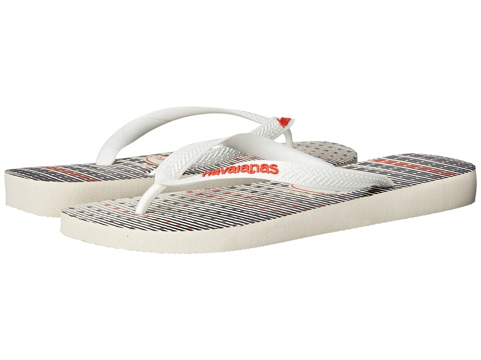 Havaianas - Trend Flip Flops (White/White/Neon Orange) Men's Sandals