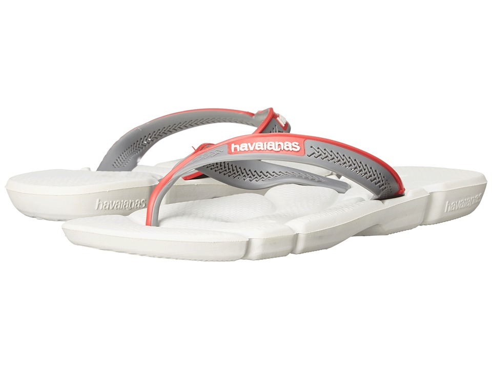 Havaianas - Power Flip Flops (White/Grey/Red) Men's Sandals