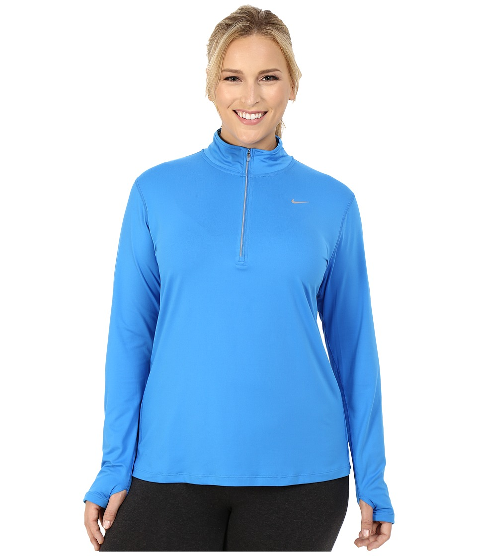 Nike - Dry Element 1/4 Zip Running Top (Size 1X-3X) (Light Photo Blue/Reflective Silver) Women's Long Sleeve Pullover