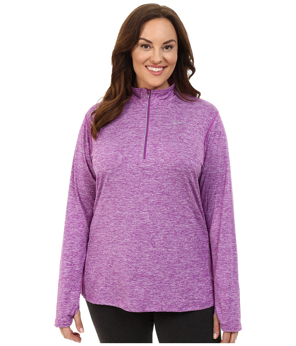 Nike - Dry Element 1/4 Zip Running Top (Size 1X-3X) (Cosmic Purple/Heather/Reflective Silver) Women's Long Sleeve Pullover