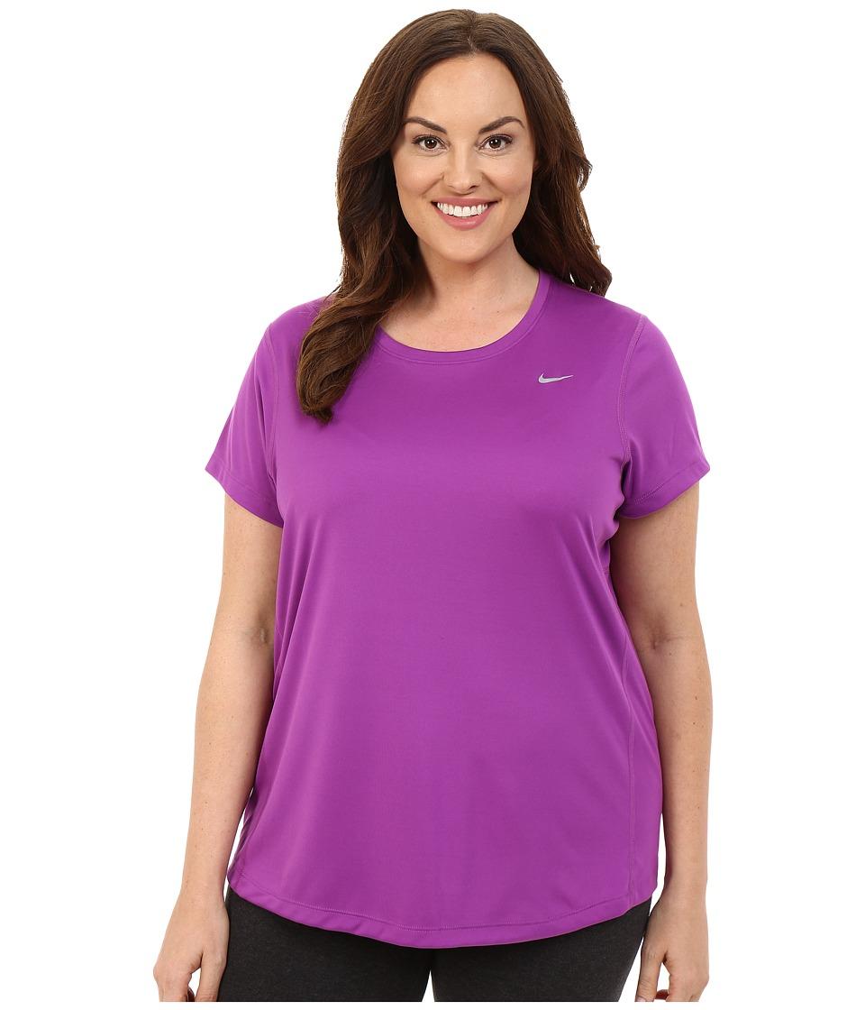 Nike - Miler Short-Sleeve Running Top (Size 1X 2X 3X) (Cosmic Purple/Reflective Silver) Women's T Shirt plus size,  plus size fashion plus size appare