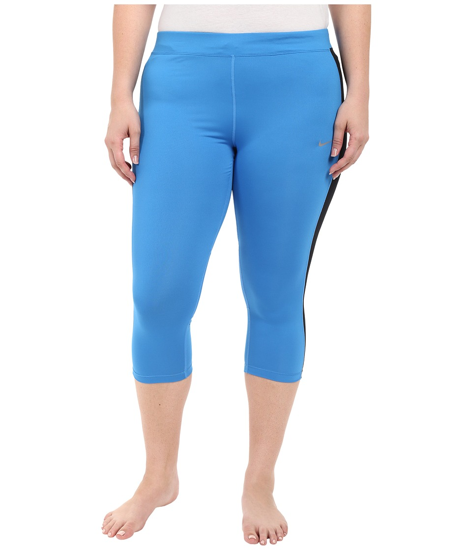 Nike - Dri-FIT Essential Running Crop (Size 1X-3X) (Light Photo Blue/Black/Black/Reflective Silver) Women's Capri
