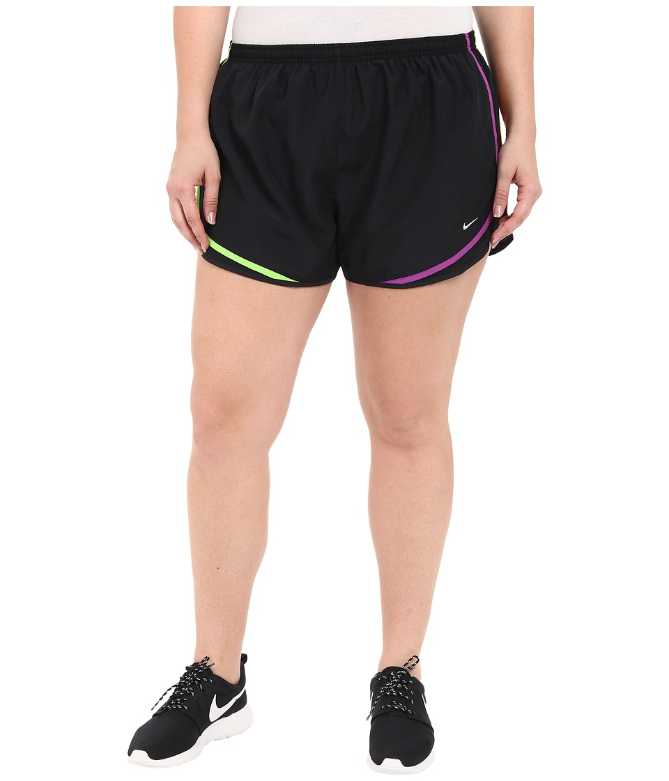 Nike - Dry Tempo Running Short (Size 1X-3X) (Black/Black/Action Green/Wolf Grey) Women's Shorts