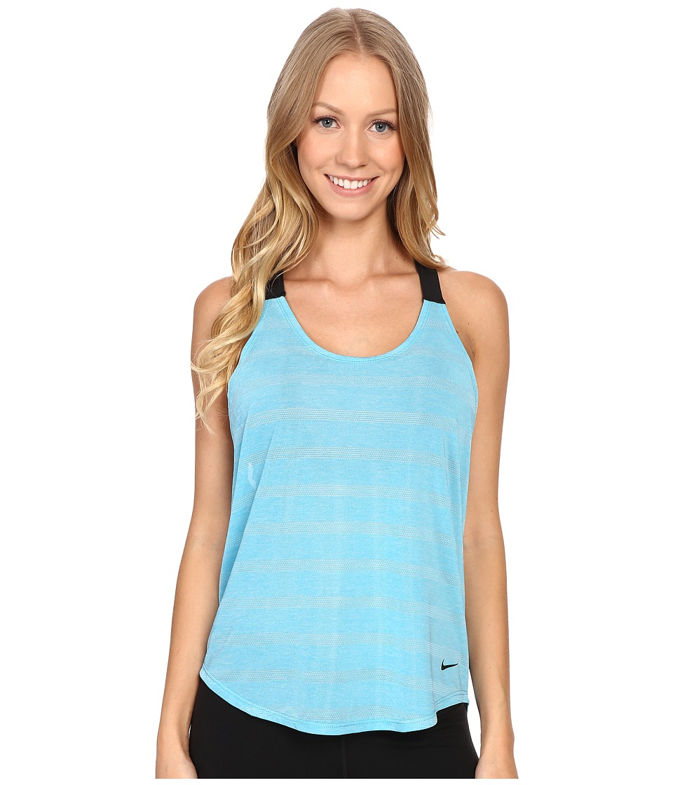 Nike - Elastika Elevate Tank Top (Omega Blue/Heather/Black/Black) Women's Sleeveless
