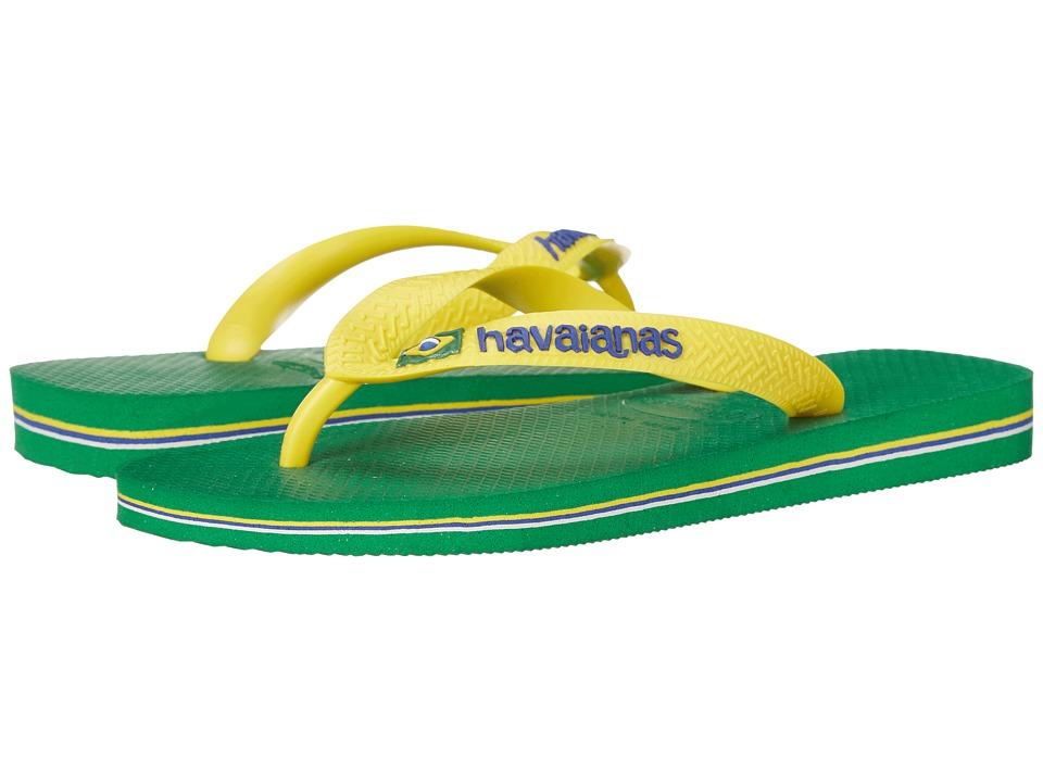 Havaianas - Brasil Logo Unisex Flip Flops (Green) Women's Sandals
