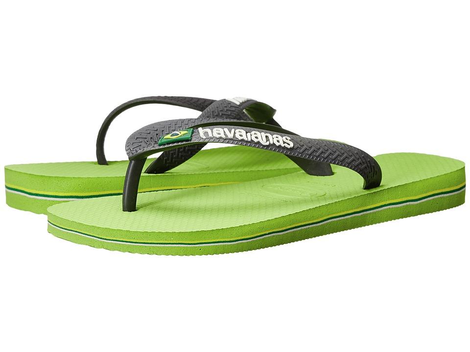 Havaianas - Brasil Logo Unisex Flip Flops (Lime Green/Grey) Women's Sandals