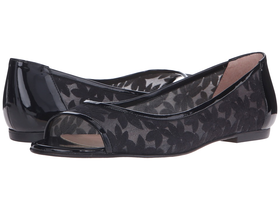 French Sole - Noir (Black Floral) Women's Flat Shoes