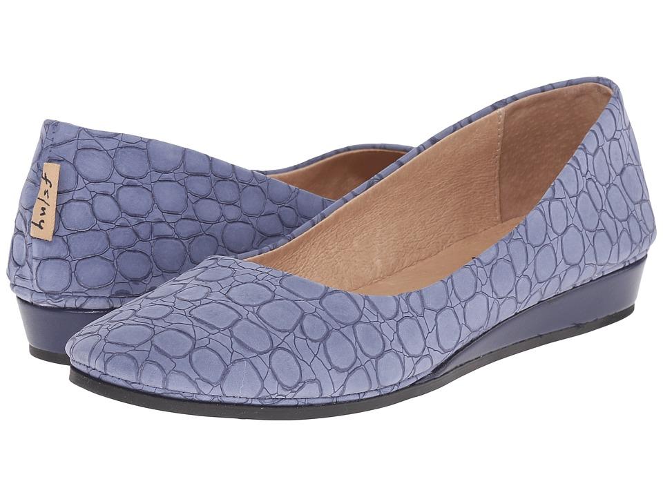 French Sole Zeppa (Blue Croco) Women