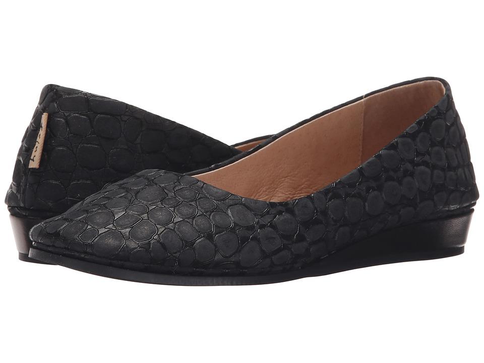 French Sole - Zeppa (Black Croco) Women's Slip on Shoes
