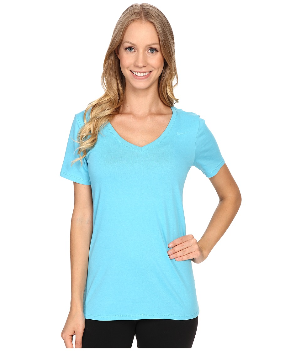 Nike - Dri-FIT Cotton V-Neck Short Sleeve Tee (Omega Blue/Omega Blue) Women's T Shirt