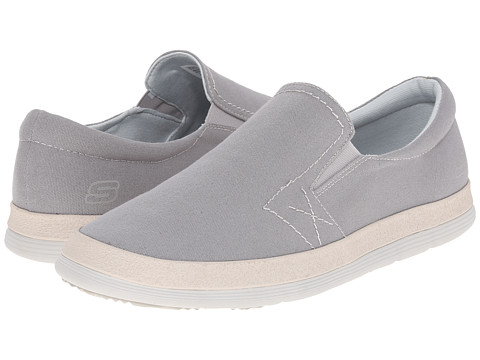 SKECHERS - Braven-Zarte (Light Grey) Men's Slip on Shoes