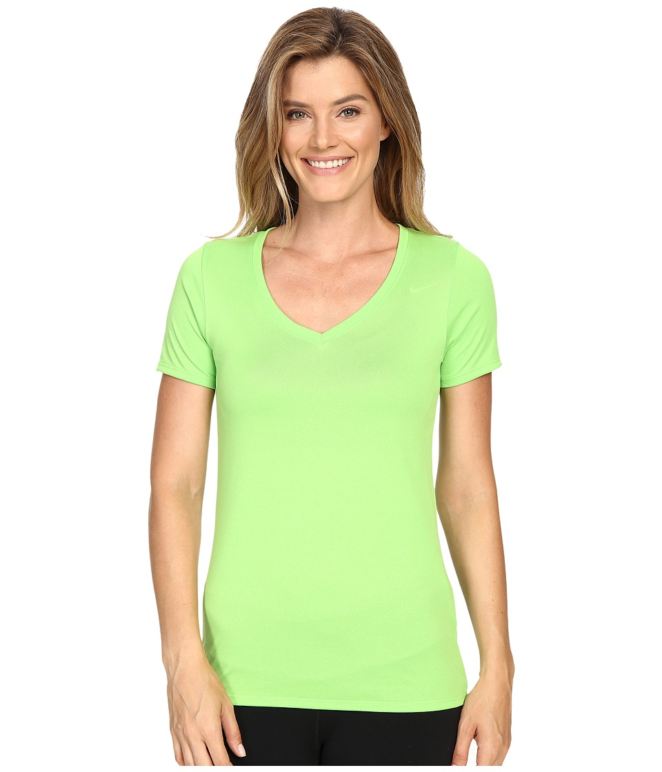 Nike - Legend 2.0 V-Neck Training Tee (Action Green/Action Green) Women's T Shirt