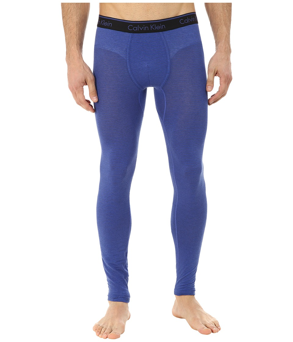 Calvin Klein Underwear - Linear Long Johns (Cobalt Water/Black Stripe) Men
