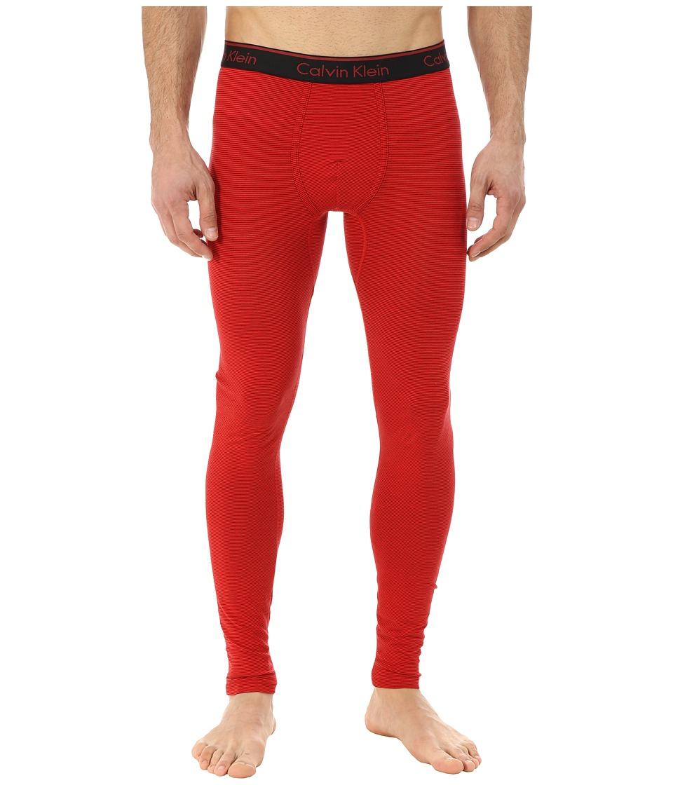 Calvin Klein Underwear - Linear Long Johns (Ignite Red/Black Stripe) Men's Underwear