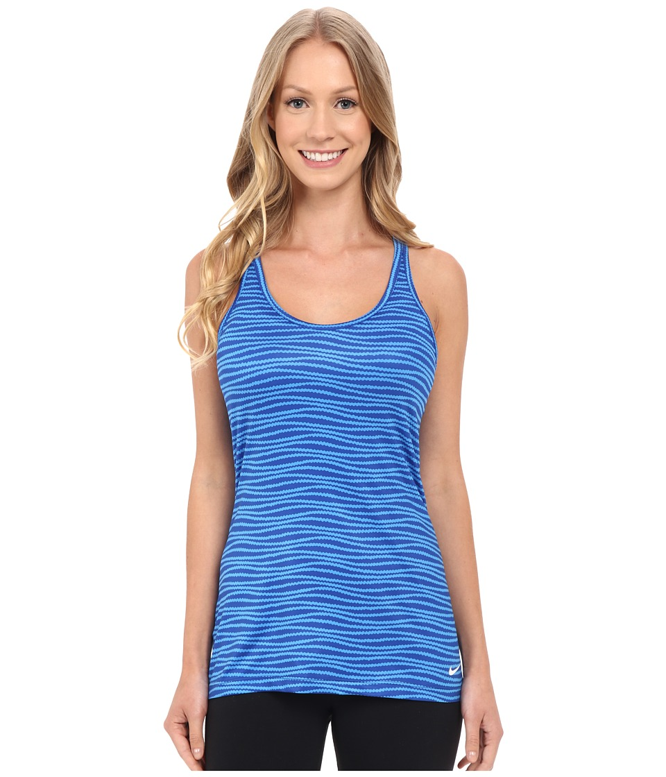 Nike - Get Fit Veneer Tank Top 2 (Light Photo Blue/Deep Royal Blue/White) Women's Sleeveless