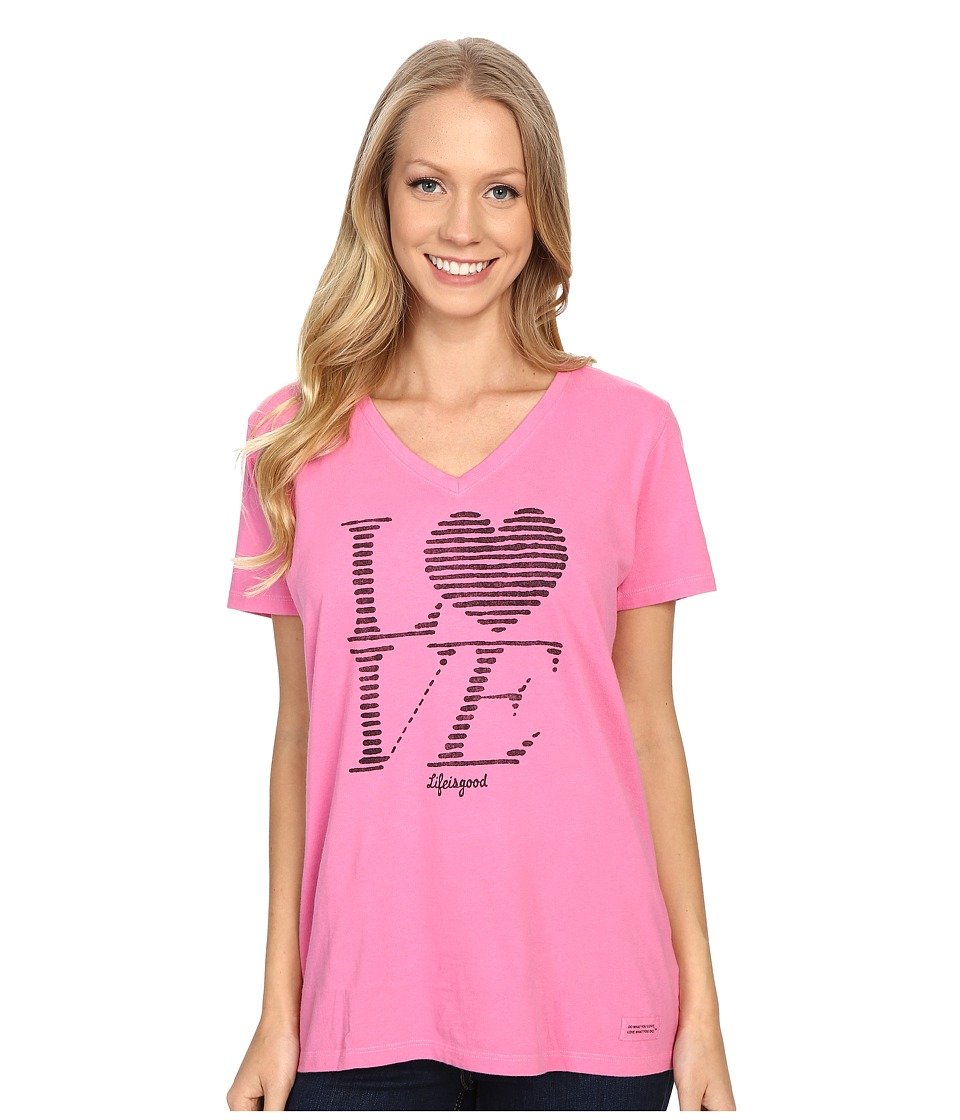 Life is good Love Stripe Crusher Vee (Tropical Pink) Women
