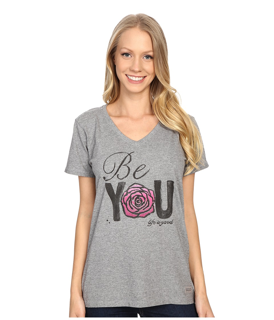 Life is good - Be You Rose Crusher Vee (Heather Gray) Women's T Shirt