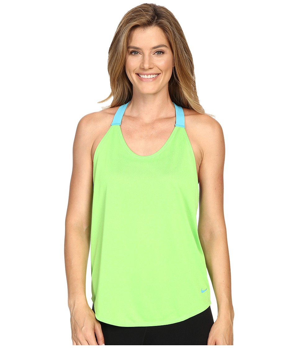 Nike - Elastika Solid Tank Top (Action Green/Omega Blue/Omega Blue) Women's Sleeveless