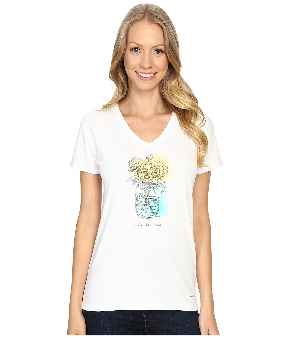 Life is good - Mason Jar Crusher Vee (Cloud White) Women's T Shirt
