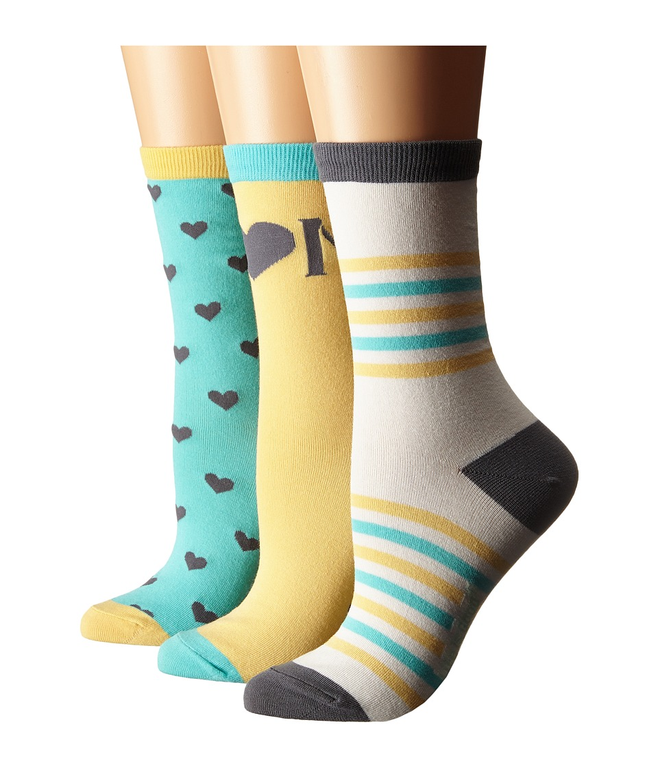 Life is good - Mother's Day Crew Socks 3-Pack (Sunny Yellow/Cloud White/Cool Aqua) Women's Crew Cut Socks Shoes